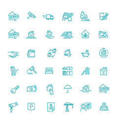 outline web icons set - real estate vector image