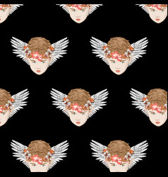 pattern with hand drawn cupid vector image