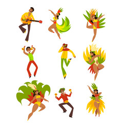 People dancing and playing music brazil carnival vector