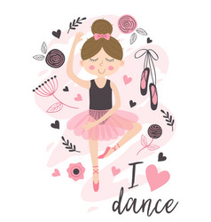 poster with cute ballerina girl vector image