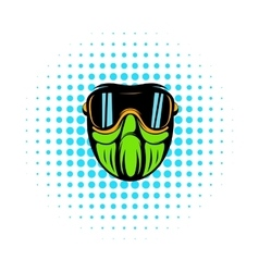 Protective mask comics icon vector