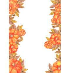 pumpkin and autumn leaves watercolor border vector image