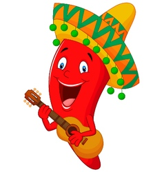 Red Chili Pepper Cartoon Character With Mexican Ha vector image