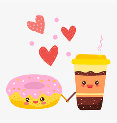romantic cartoon characters donut and coffee vector image