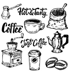 set coffee hand drawn icons design elements vector image