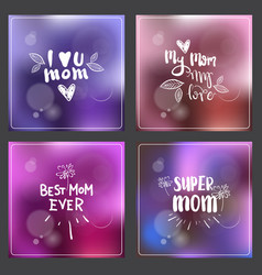 set greeting cards for mothers day hand drawn vector image