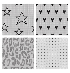 Set of black lace fabric seamless patterns vector