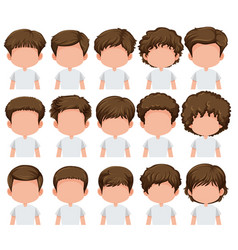 set of boy different hairstyle vector image