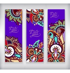 Set of decorative violet colour flower template vector