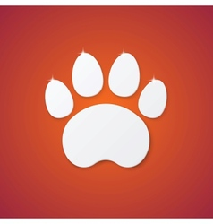 Shiny Plastic Trace of Cat on Orange Background vector image