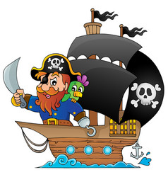 Ship with pirate 1 vector