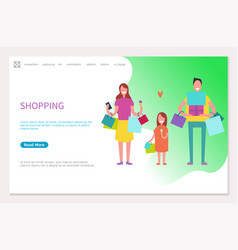 shopping web page happy family mother father girl vector image