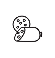 Sliced wurst sketch icon vector