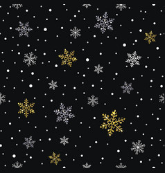 snowflakes gold and silver seamless pattern vector image