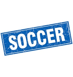 Soccer blue square grunge stamp on white vector