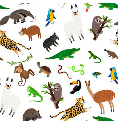 South america animals pattern vector