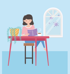 Stay at home girl reading book in table vector