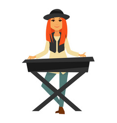 stylish redhead girl plays electric piano isolated vector image