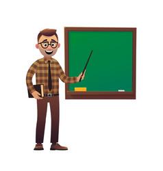 teacher professor standing in front of blackboard vector image