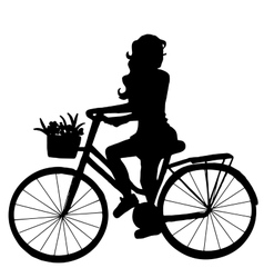 The girl on the bike vector image