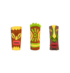 tribal ethnic wooden masks with ornamental vector image