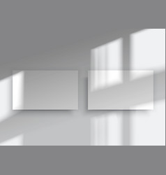 two business cards overlay shadow from window vector image