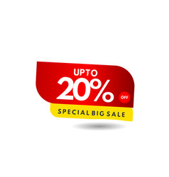 Up to 20 special big sale label template design vector