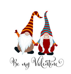valentines day card with gnomes couple in love vector image