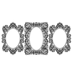 vintage baroque frame decor set detailed ornament vector image