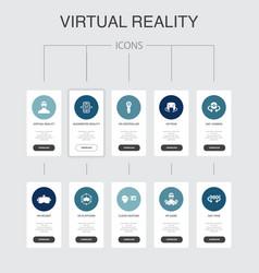 Virtual reality infographic 10 steps ui designvr vector
