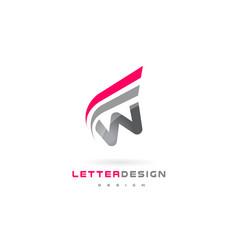 W letter logo design futuristic modern lettering vector