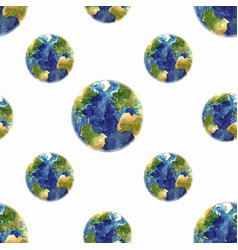 Watercolor space earth pattern vector