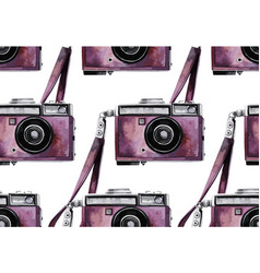 Watercolor vintage camera pattern vector