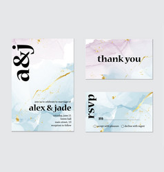 wedding invitation alcohol ink card calligraphy vector image