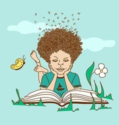 with boy lying on the grass and reading a book vector image
