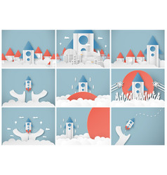With start up concept in paper cut craft and vector