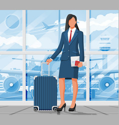 woman with travel bag tourist with suitcase vector image