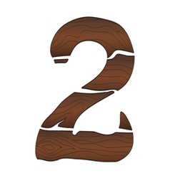 Wood Numbers 2 isolated on the white vector image