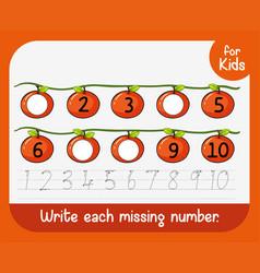 Write each missing nunber vector