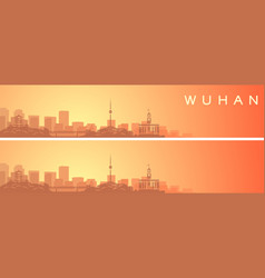 Wuhan beautiful skyline scenery banner vector