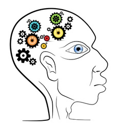 Abstract Human Head with Cogs - Gears vector image