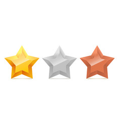 set of 3d gold silver and bronze stars vector image