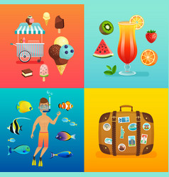 summer set with ice cream cocktails suitcase vector image vector image