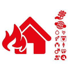 Fire damage icon with love bonus vector