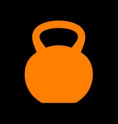 Fitness dumbbell sign orange icon on black vector
