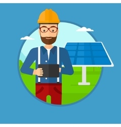 Male worker of solar power plant vector