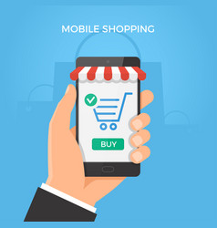 mobile online shopping concept hand holding vector image vector image