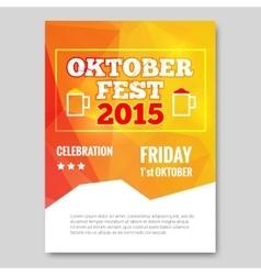 Octoberfest triangle flyer orange background party vector image