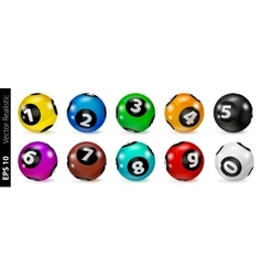 Set of Lottery Colored Number Balls 0-9 vector image vector image