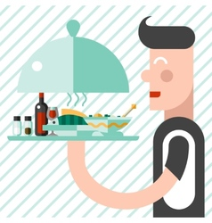 Waiter with tray vector image